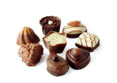 Collection of beautiful delicious chocolate candies Stock Photos