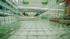 empty shopping cart in the supermarket - stock footage