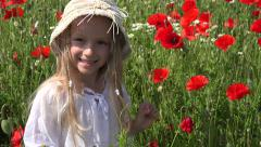 4K Happy Little Girl Portrait Poppy Flowers Field Playing Children Summer Nature Stock Footage
