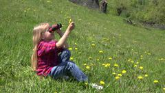 4K Child Looking Binocular, Spyglass in Mountains, Tourist Girl in Trip Camping Stock Footage