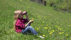 4K Child Looking Binocular, Spyglass in Mountains, Tourist Girl in Trip Camping Stock Footage