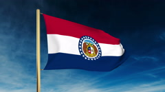 Missouri flag slider style. Waving in the win with cloud background animation Stock Footage