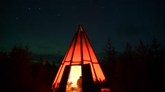 Tipi Tent Timelapse At Night Stock Footage