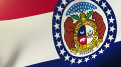 Missouri flag waving in the wind. Looping sun rises style.  Animation loop Stock Footage