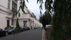 London residential street pan x2 Stock Footage