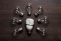 energy saving lamp and glow lamps concept - stock photo