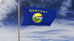 Montana flag waving in the wind. Green screen, alpha matte. Loopable animation Stock Footage