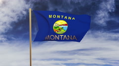 Montana flag with title waving in the wind. Looping sun rises style.  Animation Stock Footage