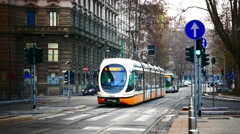4K Italy Lombardy Milan Milano downtown traffic tram Tramway stop station Stock Footage