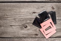 retro negative film and slides - stock photo