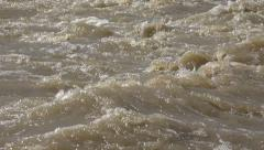 4K Muddy River in Flood, Flooding by Rain, Storm, Flooded, Calamity - stock footage