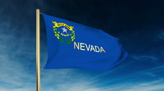 Nevada flag slider style with title. Waving in the wind with cloud background Stock Footage