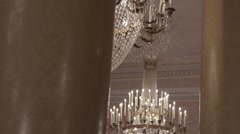 Track of chandelier at La Fenice Opera House Venice Stock Footage