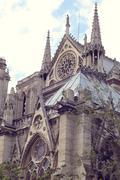 Architectural details of Cathedral Notre Dame de Paris. - stock photo