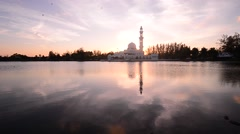 Mosque at lake during sunset clips. Stock Footage