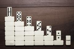 job ladder concept domino pieces forming stair - stock photo