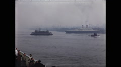 Steam Ships and Tugboat in New York City 1957 - stock footage