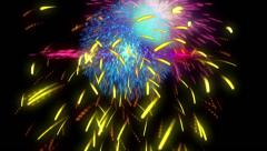 Digital sparks particle fireworks explosion, full hd Stock Footage