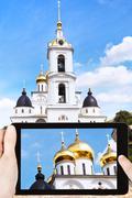 Tourist photographs Cathedral of Dmitrov Kremlin Stock Photos
