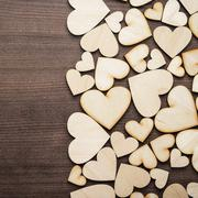 wooden heart shapes on the table - stock photo