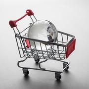 glass globe in the shopping trolley concept - stock photo