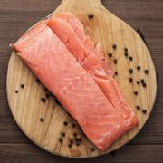 Salted trout on the hardboard Stock Photos