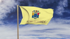 New jersey flag with title waving in the wind. Looping sun rises style Stock Footage