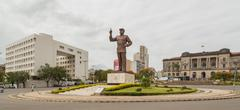 A giant statue of Samora Moisés Machel at the Independence Square in Downtown Ma - stock photo