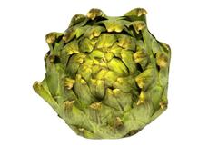 Single artichoke from above Stock Photos