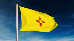 New mexico flag slider style. Waving in the win with cloud background animation Stock Footage