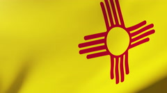 New mexico flag waving in the wind. Looping sun rises style.  Animation loop Stock Footage