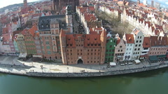 Aerial of Old Town Gdansk in Poland. Stock Footage