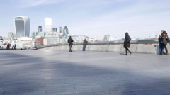 4k - Time lapse shot of More London Riverside and the City of London skyline Stock Footage