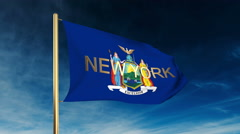New york flag slider style with title. Waving in the wind with cloud background Stock Footage