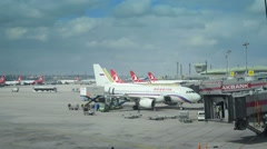 Airport time lapse with planes arriving and departing Stock Footage