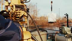 Work crane at the port Stock Footage