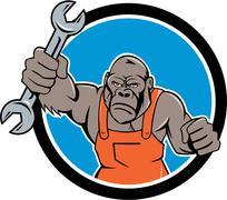 Angry Gorilla Mechanic Spanner Circle Cartoon Stock Illustration