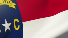 North carolina flag waving in the wind. Looping sun rises style.  Animation loop Stock Footage