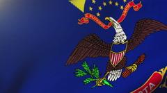 North dakota flag waving in the wind. Looping sun rises style.  Animation loop Stock Footage