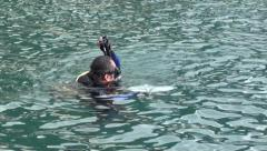 Diver fails to submerge- - stock footage