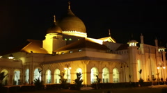 Night external illuminated Kapitan Keling mosque Penang Stock Footage