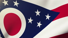 Stock Video Footage of ohio flag waving in the wind. Looping sun rises style.  Animation loop