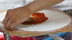 HD footage Close up hand Chef plaster pastry for pizza Stock Footage