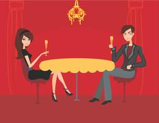 Young couple flirt and drink champagne in restaurant Stock Illustration