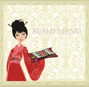 Stock Illustration of beautiful Asian girl enjoy sushi - menu template
