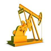 Gold oil rig on isolated white background Piirros
