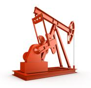 Red oil rig on isolated white background Stock Illustration