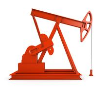 Red oil rig on isolated white background 3D - stock illustration