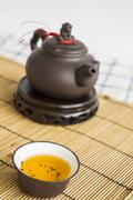 tea teapot cup Chinese pottery clay Oolong cha concept - stock photo