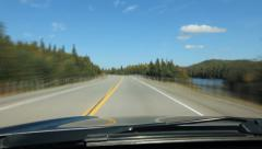 Sunny Autumn drive in Northern Ontario. Time lapse. Stock Footage